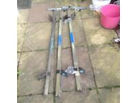 Set of Rhino roof bars and 2 ladder clamps