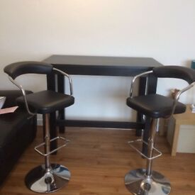 Ikea Brown/Black bar table with 2 Dunelm bar stools