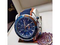 New blue face blue orange canvas rubber bracelet Omega Seamaster 600 with chronograph stopwatch