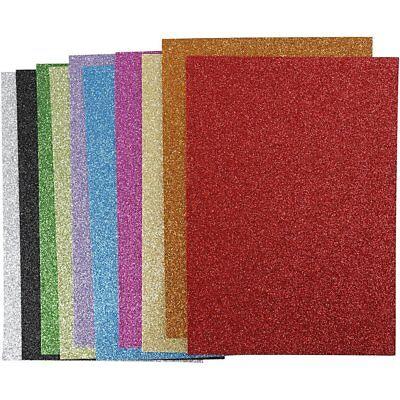 Moosgummi mit Glitter, 10 Blatt , A4 21 x 30 cm, Glitzer, sortierte Farben
