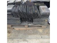 Reclaimed roof slates.