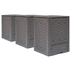 Garden Composters 3 pcs Brown 60x60x83cm 900 L-278918