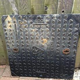 New metal manhole cover with frame