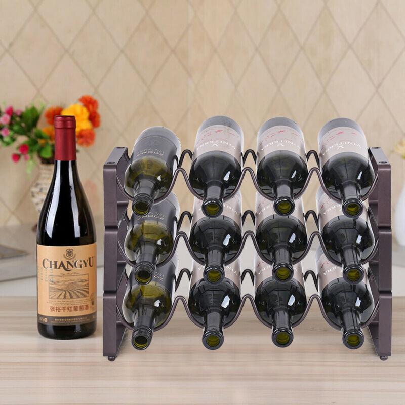 Metal Wine Rack Free Standing Countertop 3 Tier Bottle Holde