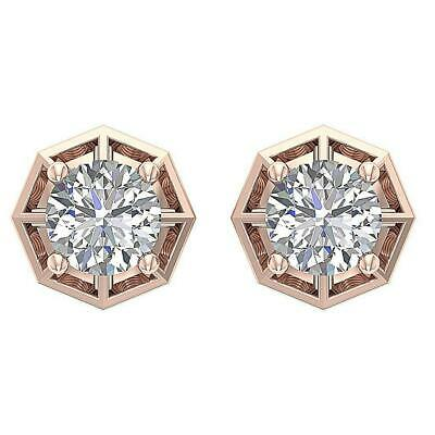 Solitaire Studs Earring Natural Diamond SI1 G 0.55 Carat 14K Rose Gold 6.40MM
