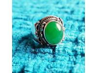 Green Jade/Nephrite Statement Sterling Silver Ring - Size N/7