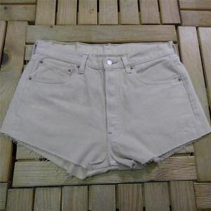 LEVI-501-32-UK-12-Vintage-Beige-Denim-High-Waisted-Cut-Off-Shorts-Hotpants-9742
