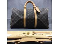 Louis Vuitton Brown Keepall 45 lv embossed print designer 199.99