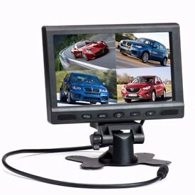 Podofo Split Screen Quad Video LCD Display Car Backup Monitor WILL NOT RECORD HENCE LOW PRICE