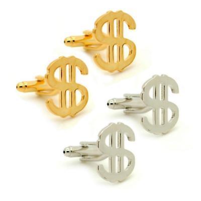 Symbol Cufflinks Cufflinks - DOLLAR SIGN CUFFLINKS Money Currency Symbol $ NEW w GIFT BAG Wedding Silver Gold