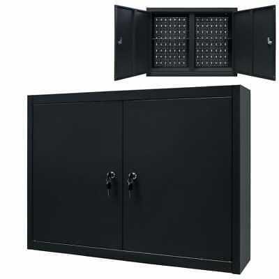 Vidaxl Wall Mounted Tool Cabinet Industrial Metal 31.5 Black Tool Storage
