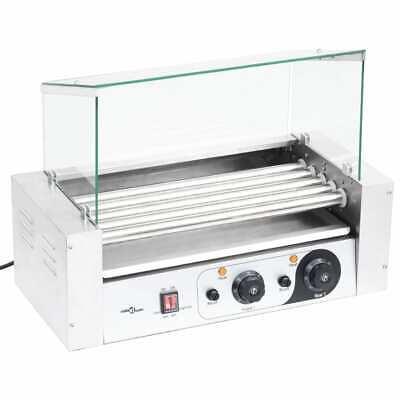 vidaXL Máquina de Perritos Calientes 5 Rodillos Tapa de Vidrio 1000 W...