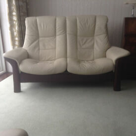 Ekornes Individually Reclining Cream Leather Sofa