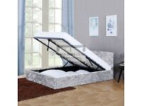 LIMITED TIME OFFER-- CRUSHED VELVET DOUBLE OTTOMAN STORAGE GAS LIFT UP BED FRAME SAME DAY DELIVERY