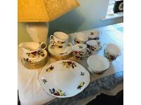 Vintage 40 piece Richmond Rose Crown Essex Bone China Tea Set