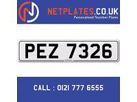 'PEZ 7326' Personalised Number Plate Audi BMW Ford Golf Mercedes VW Kia Vauxhall Caravan van 4x4