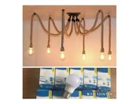6head Industrial Pendant Light Chandelier Hemp Rope Ceiling spider in Different colour