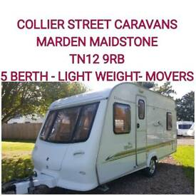 Light weight 5 berth caravan +motor movers elddis alfresco 475