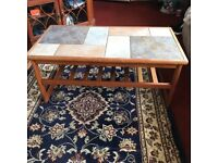 Tiled coffee table.
