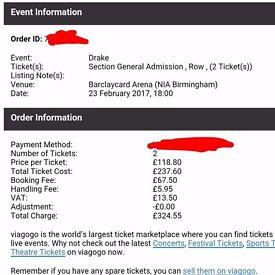 Drake Standing Tickets x2 Birmingham