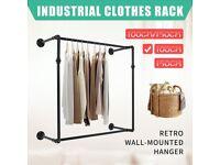 Clothes Rack Industrial Vintage Metal Garment Display Rail Hanger Stand 100CM