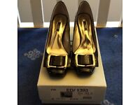 Next Black Heel Shoe With Gold Buckle Detail - Excellent Condition - Like New - Worn Once