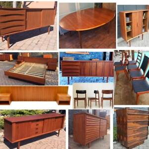 RESTORED Danish Mid Century Modern Teak Walnut Rosewood furniture from $249 SIDEBOARD CREDENZA DRESSER TABLE CHAIR SHELF