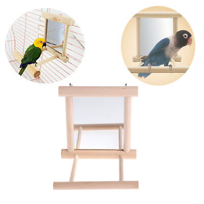 Pet Bird Mirror Wooden Play Toy with Perch For Parrot Budgies Parakeet Cockatiel