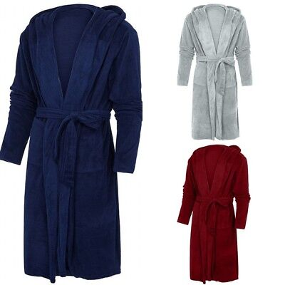 (US Ladies Womens Warm Hooded Coral Fleece Bath Robe Dressing Gown Wrap Housecoat)