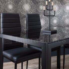 ◄◄SAME DAY FAST DELIVERY►►BRAND NEW BLACK GLASS DINING TABLE WITH 4 PU LEATHER CHAIRS-GET IT TODAY