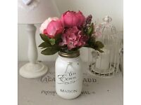 Shabby Chic Eerin Mason Jar with Pink Peonies & Hydrandrea Flowers and Pearls - ideal Gift