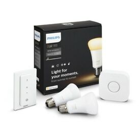 Philips Hue White and Colour Ambience Wireless Lighting E27 LED Starter Kit
