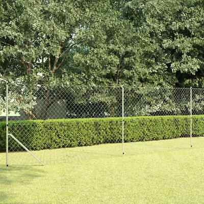 vidaXL Chain Link Fence with Post Galvanised Steel 15x1.5m Silver Mesh Barrier