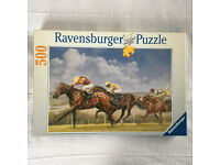 COMPLETE unused, sealed bag Ravensburger 500 piece puzzle Glorious Goodwood,Graham Isom,14417 in box