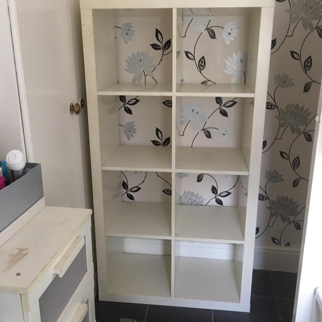 White IKEA cuboid storage shelving units - SOLD