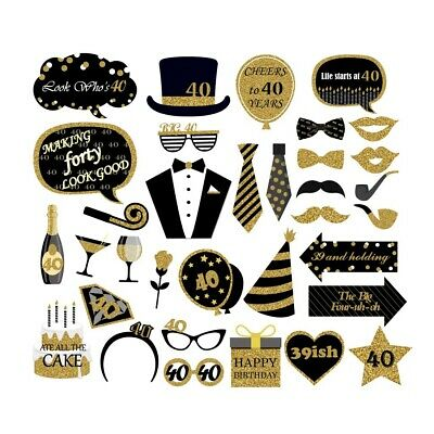 Favors For 40th Birthday (34PCS 40th Fortieth Year Birthday Party Masks Favor Photo Booth Props For)