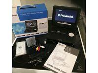 """Polaroid 7"""" swivel white portable DVD player"""