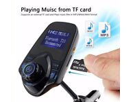 Bluetooth in-car transmitter adaptor and charger handsfree calls! Sd card,aux,mp3