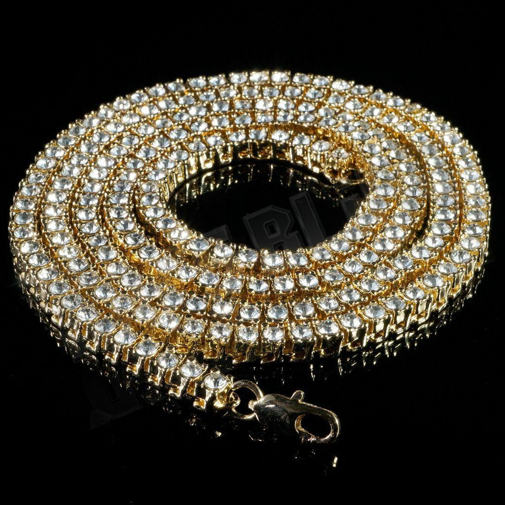 Jewellery - 14k Yellow Gold Flooded Out Iced Lab Diamond Mens 1 Row Tennis Chain Necklace