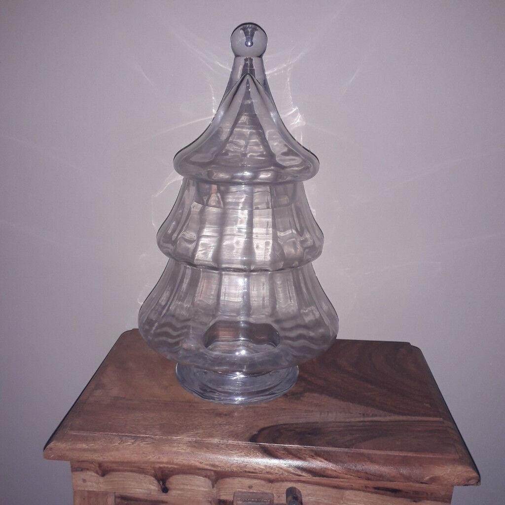 Glass Christmas Tree Jar Cookie Sweet Storage Jar Bowl With Lid 32 cm | in Aspley ...