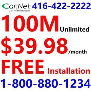 FREE install + FREE Shipping,100M Unlimited Cable internet $39.98,  NO CONTRACT. Please call 1-800-880-1234 to order