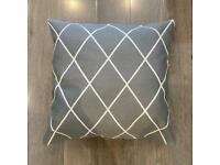 Pillow and pillow case / throw cushion - grey and white