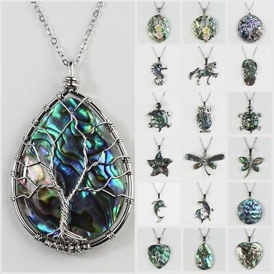 Fashion Natural Hollow Flowers Animal Paua Abalone Shell Pendant Bead Necklace
