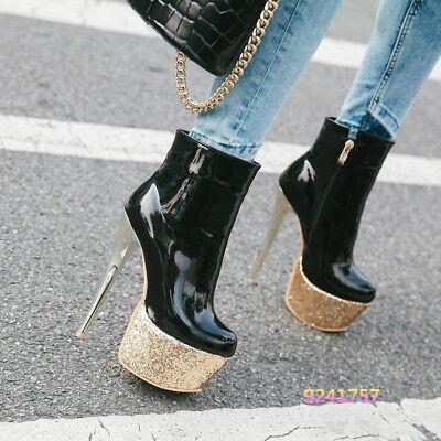 Damenschuhe Stiefel Stiefelletten Plattform High Heels Lackleder Show Party neu ()