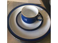Denby Imperial Blue dinnerware 5 cups & saucers + dinner plates