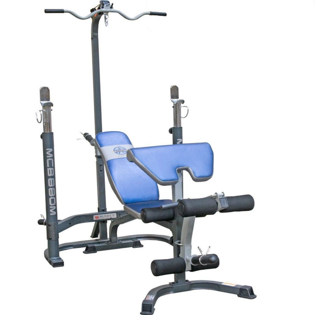 Marcy MCB88OM Weight Bench With Squat Rack U0026 Lat Pulldown