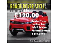 Bank Holiday Weekend Sale, Range Rover Stlye,Leather Seats,Rubber Tyres, in 3 Colours Ride-On
