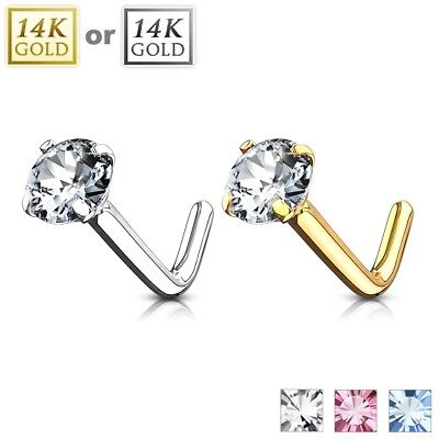 14K Solid GOLD Prong Setting Gem L Shape NOSE Stud RINGS SCREW Piercing Jewelry