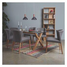 Habitat Dublin 6-8 seat oak and glass dining table