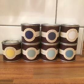 Farrow and Ball sample paint pots x 7